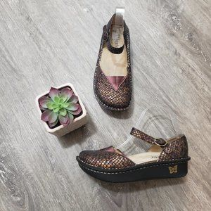 Alegria Madrid Snake Print Mary Jane Nursing Shoes Sz 38